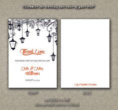 DIY Printable Wedding Thank You Card PDF - Wedding Lanterns in Midnight Blue (3.5 X 5 Folded) on Etsy, $4.00