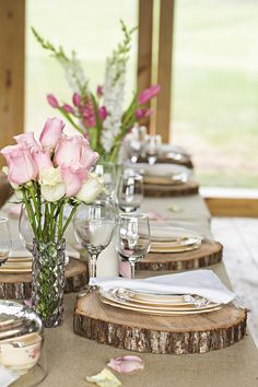 Rustic tablescape with wood chargers.