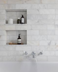 The room is filled with beautiful long island marble tiles which add softness and depth whilst also giving a relaxing space to… Loft Bathroom, Master Bathroom, Shower Niche, Marble Tiles, Beautiful Bathrooms, Toilet, New Homes, Long Island, York