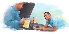 As a man works on a car, another man gives him a cold drink