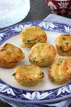 Mini Frittatas with bacon, parmesan cheese and green onions.