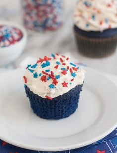 Blue Velvet Cupcakes with Easy Vanilla Buttercream by Tracey's Culinary Adventures