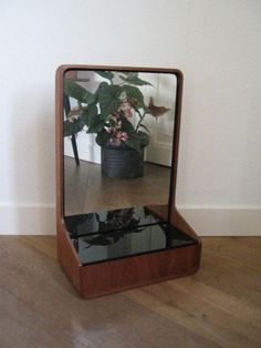 Mirror by Friso Kramer Euroika for Auping  , plywood mirror with black glass