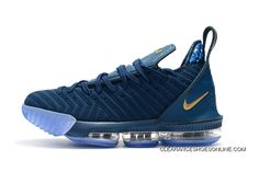 2018 Nike Lebron 16 Deep Blue Gold Mens Basketball Shoes Copuon 7cb356ded