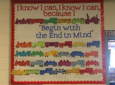 Leader in Me habit 2 bulletin board. Discussed goals, having a positive attitude.wrote goal and plan on a train car. Train Theme Classroom, Classroom Themes, 7 Habits Activities, Activities For Kids, Train Bulletin Boards, School Themes, School Ideas, Little Engine That Could, Seven Habits