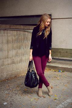 burgundy skinnies, black top, beige ankle boots