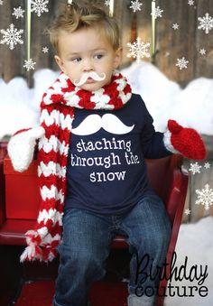 Staching Through the Snow - Christmas Holiday Shirt - Mustache Christmas Shirt. $25.00, via Etsy.