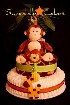 Jungle Pals Diaper Cake by swaddlestar, via Flickr
