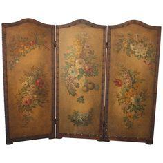 Three Paneled Painted Folding Screen