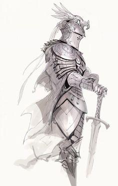 kekai kotaki Knight Drawing, Warrior Drawing, Knight Art, Fantasy Armor, Medieval Fantasy, Fantasy Character Design, Character Drawing, Marilyn Monroe Artwork, Warframe Art