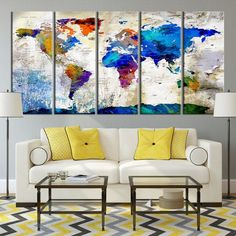 Large watercolor push pin world map canvas print world map canvas large push pin watercolor world map canvas print gumiabroncs Image collections