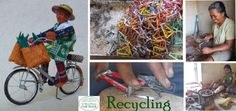 """Fair Trade principle 10) """"Respect for the Environment"""". Fair Trade example of women artisans recycling metal waste to miniature cycles. Women taking responsability for the future."""