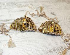 Oro zecchino Crochet Bikini Set Crochet superiore di escherpe