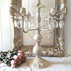 Crystal Candelabra Wedding Candle Holder Antique Painted Metal French Nordic Shabby Chic Candle Holder with Pearls