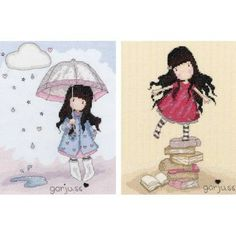 Gorjuss New Heights and Puddles Of Love Set Of Two Cross Stitch Kits £43.80 | Past Impressions | Bothy Threads