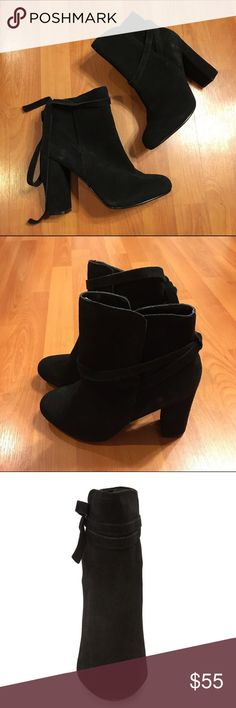 "Steve Madden 'Loreen' Booties Steve Madden 'Loreen' Booties. Slim wraparound straps with delicate bow. Suede leather upper with rubber/plastic outsole. A chunky 4"" heel. Easy slip on bootie. Brand new with tags still attached. Steve Madden Shoes Ankle Boots & Booties"