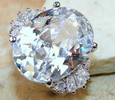 Enormous Fiery 34+ctw Genuine White Topaz Signature Ring~925 SS~Sz. 8.25~Heirloom! Sale~WOW! HUGE!
