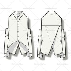 Front and back vector fashion illustration of a women's blouse with spread collar, shoulder cutout panels, and criss-cross panel at back.