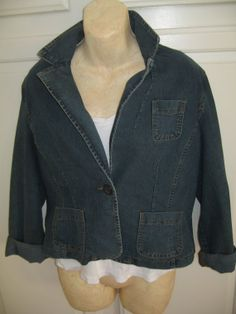 Vintage Jean Jacket Blue Stone Washed Short Blazer by twysp2, $16.00