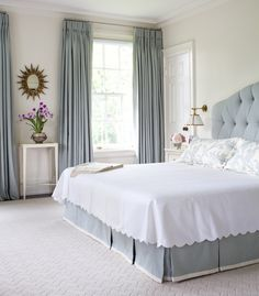 House of Turquoise: Anne Hepfer Designs. Lovely blue and white bedroom. Love the delicate table holding the orchid and small oval mirror between the two windows. Master Bedroom, Bedroom Decor, Bedroom Lighting, Bedroom Ideas, Bedroom Curtains, Calm Bedroom, Peaceful Bedroom, Bedroom Beach, Bedroom Carpet