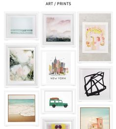 Favorite art prints and framable stuff for bare walls! Affordable art ideas and pretty colors for a gallery wall or any area in your house that needs art.