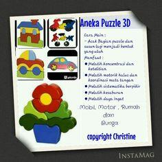 Aneka Puzzle 3D #mainanedukasi #mainanpaud #mainanplaygroup #mainankayu #puzzle #puzzleanak #mainananak #motorikhalus #latihkoordinasimatadantangan #dayaingatanak #warna #anak #batita #balita #kadoanak #suveniranak #hadiahanak #puzzle #sabar #bunga #mobil #rumah #motor #educationaltoys #kids #toodlers #woodentoys  WA +6283863275962 CP : Christine