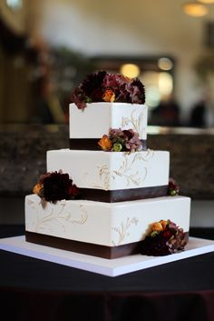 Fall Wedding Cake. Eggplant instead of brown