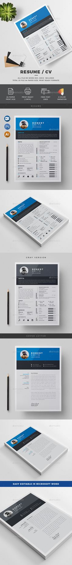 Professional Resume Template Cv Template Cover Letter Modern