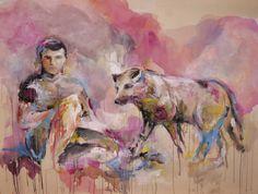 """""""Von Wölfen und Schafen"""", Acryl auf Leinwand, 160 x 120 cm"""