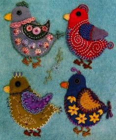 Robin Atkins chicks wool applique bead and thread embroidery hand quilting
