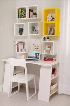 Modern Computer Table Design Ideas With Storage Study Table Designs, Study Room Design, Kids Study Table Ideas, Home Office Design, Home Office Decor, House Outside Design, Room Interior, Interior Design, Small Bedroom Designs