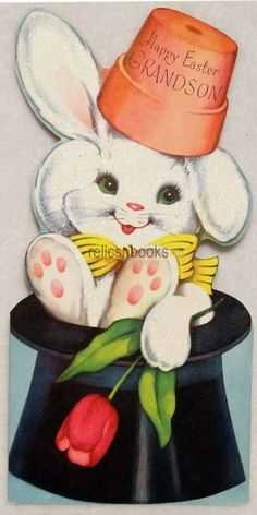 #338 50s Glittered Bunny Rabbit in a Hat! Vintage Diecut Easter Greeting Card