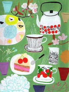 notice the Kauniste sunnuntai tray! Art And Illustration, Food Illustrations, Tee Kunst, Tea Art, Arte Popular, Art Design, Food Art, Collages, Print Patterns