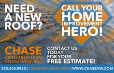 Need a New Roof? Call your Home Improvement Hero! 253.445.8950 #PNWRoofer #YourHomeImprovementHero #GAFMasterElite #MasterEliteRoofer