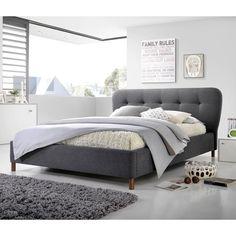 Baxton Studio Gennadios Mid-century Modern Grey Fabric Grid-tufting Platform Bed