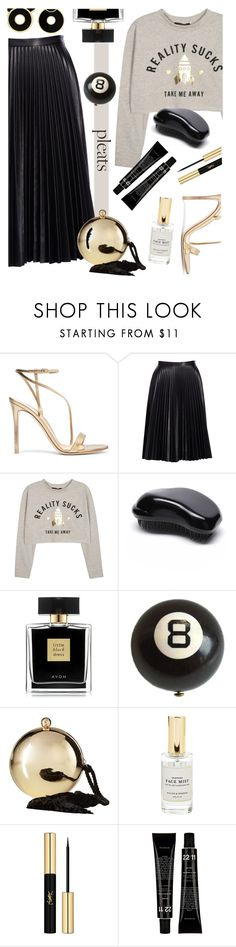 """Pleats!"" by tinkabella222 ❤ liked on Polyvore featuring Gianvito Rossi, Cusp by Neiman Marcus, WithChic, Avon, Love Moschino, Mullein & Sparrow, Yves Saint Laurent and pleats"