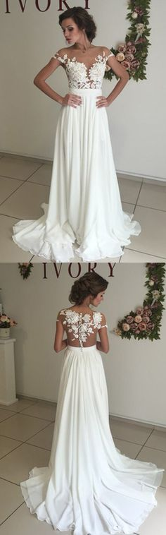 Elegant Wedding Dresses, White Wedding Dress, Chiffon Wedding Dresses with Appliques, White Prom Dresses, A Line Prom Gown, Long Prom Dress