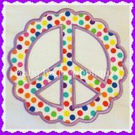 """Scalloped Peace Sign 4x4, 5"""", 6"""""""