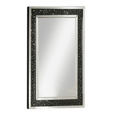 This mirrored wall accent mirror is sure to be the focal point of any room. Dramatically cast with a contrasting black framed background with black crystals. Faceted optic glass crystals adorn the skill layering it with added luxe and brilliance. To complete the look, a beveled mirrored border frames the piece creating an intricate play of light and reflection. Contemporary Wall Mirrors, Modern Contemporary, Wall Mirrors Rectangular, Mirror Trim, Mirrors Wayfair, Black Crystals, Oversized Mirror, Glass, Layering
