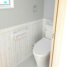 Bathroom/サンゲツ/木目調壁紙/ブルーグレー/グレーの壁/LIXIL...などのインテリア実例 - 2017-12-02 10:03:27 Toilet, Bathroom, House, Home Decor, Powder Room, Furniture, Washroom, Flush Toilet