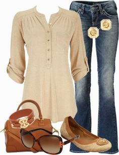 Casual Outfits | Couture Chic Designs  Gold Lurex Shirt, Aiko bootcut jeans, Tory Burch flat shoes, Tory Burch bag, Tory Burch Sunglasses  by jgalonso