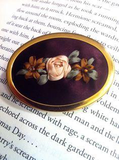 ribbon embroidery   Beaded Rose Brooch - Silk Ribbon Embroidery by BeanTown Embroidery