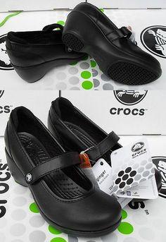 Occupational 53548: Crocs Ginger Juniper Saffron Leather Wedge Work Shoe~Black~Women 9~Nwt -> BUY IT NOW ONLY: $54.95 on eBay!
