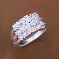 Hot!Ladies Korean Style 925Sterling Silver Triple Row Crystal Ring Jewelry A456