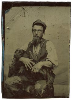Wiley Eyed Disheveled Man w Patches Holds Beloved Black Lab Awesome Tintype