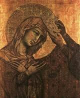 Hail Holy Queen (The Salve Regina): Detail of Coronation of the Virgin (c. 1311), from the Workshop of Duccio di Buoninsegna. Gold and tempera on panel, 51.5 x 32 cm. Budapest, Szepmuveszeti Muzeum.