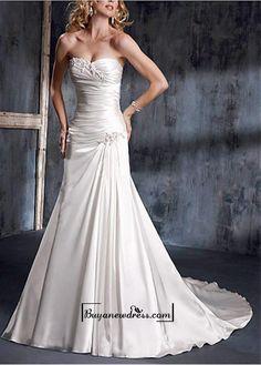 A Stunning Strapless Slight Sweetheart Wedding Dress