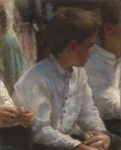 Original Pastel. Breton children, by Jean-François Le Saint (131013-1)