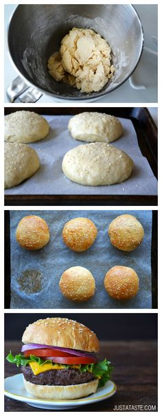 Easy Homemade Parmesan Hamburger Buns -- minus the burgers and add avocado, lettuce, cheese, tomato. Hamburger Bun Recipe, Gluten Free Hamburger Buns, Homemade Hamburger Patties, Easy Homemade Burgers, Bread Recipes, Cooking Recipes, Bread Bun, Yeast Bread, Bread Baking