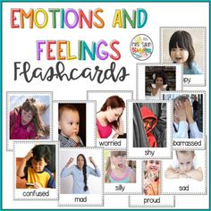 Emotions and Feelings Flash Cards with Real Pictures Literacy Stations, Vocabulary Activities, Literacy Centers, First Grade Curriculum, First Grade Science, Teaching Materials, Fun Learning, Phonics